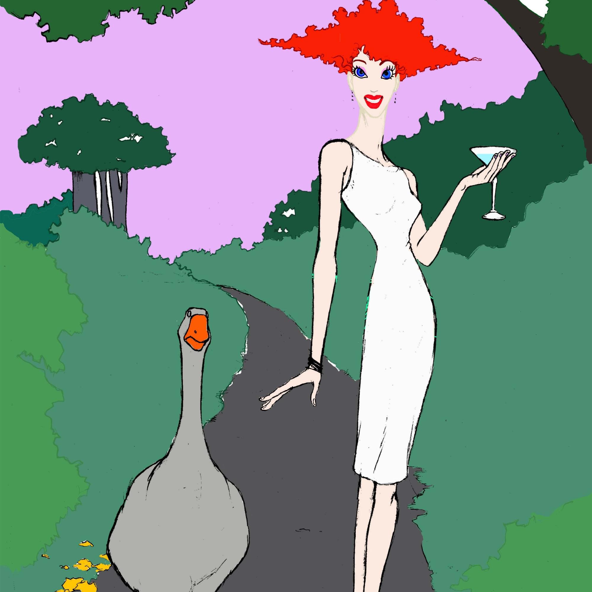 A Woman and a Goose strolling thru a garden