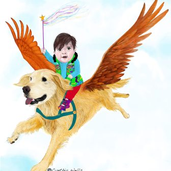 I saw the innocence, trust and love when Emilia and Enzy met. I imagined Emilia as the heroine flying in to save the day and inspire her followers. Enzy as her brave and loyal steed flying her thru the clouds.
