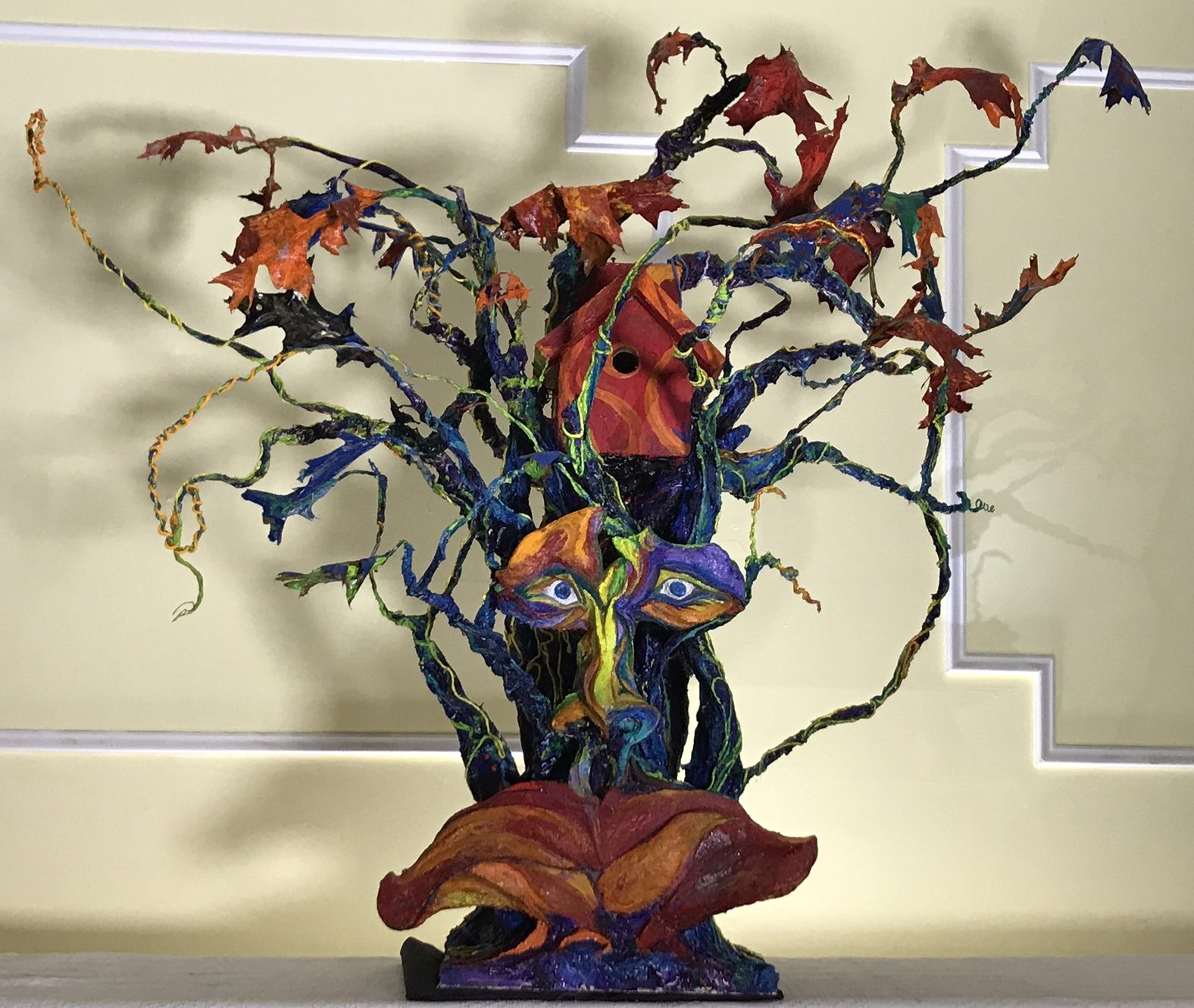 """""""The Tree Spectrum"""" is a 3d piece that was created for the Peconic Land Trust's yearly birdhouse exhibition. An invitational show that features local artists"""