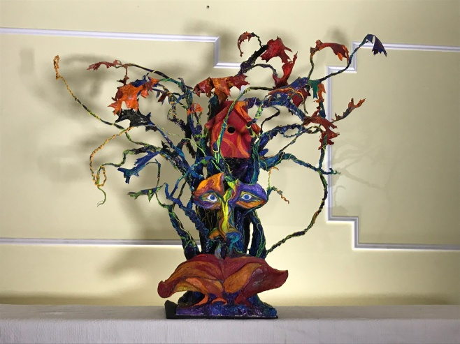 """The Tree Spectrum"" is a 3d piece that was created for the Peconic Land Trust's yearly birdhouse exhibition. An invitational show that features local artists"