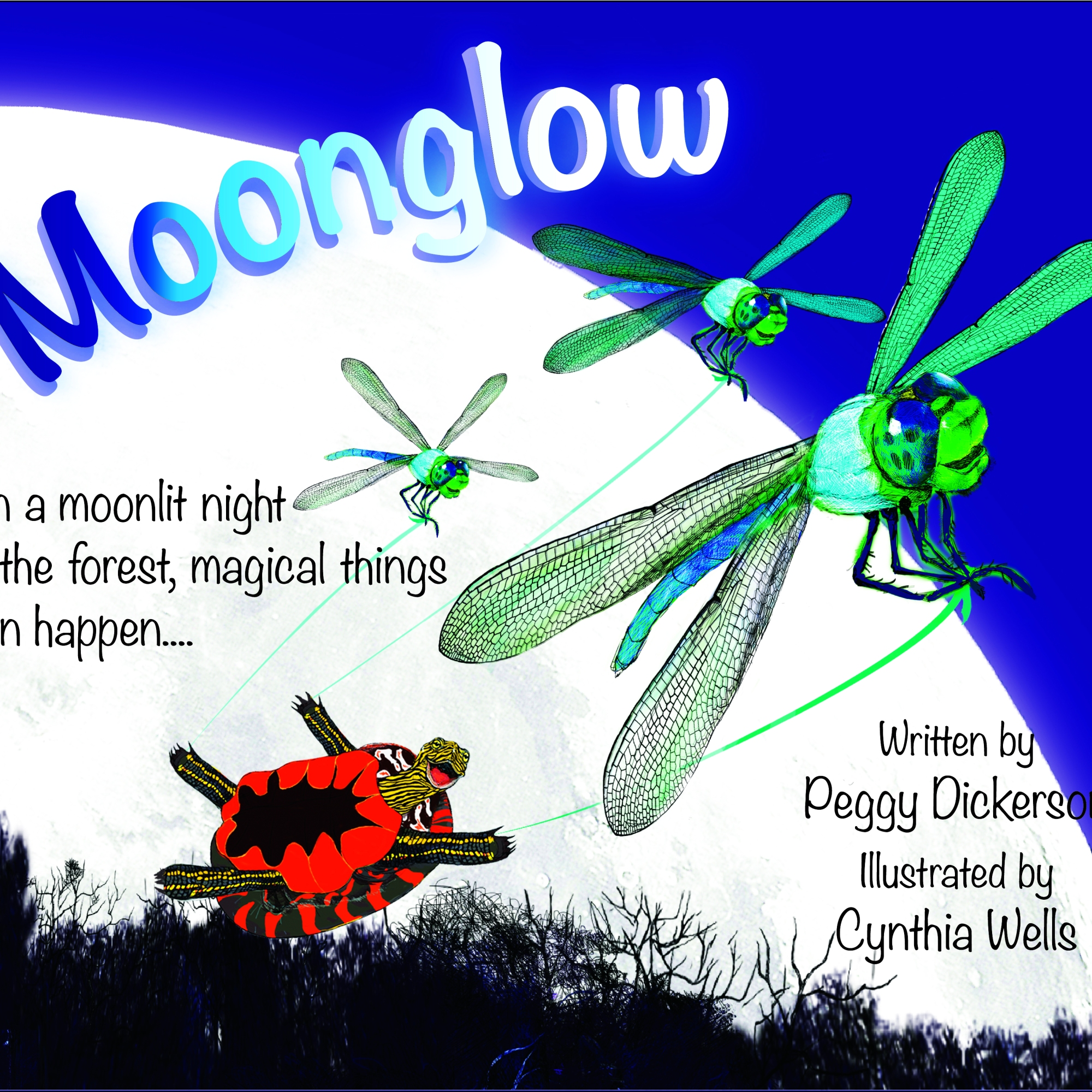 Three Dragonfly's pulling a tortoise through the night sky in front of a very large moon
