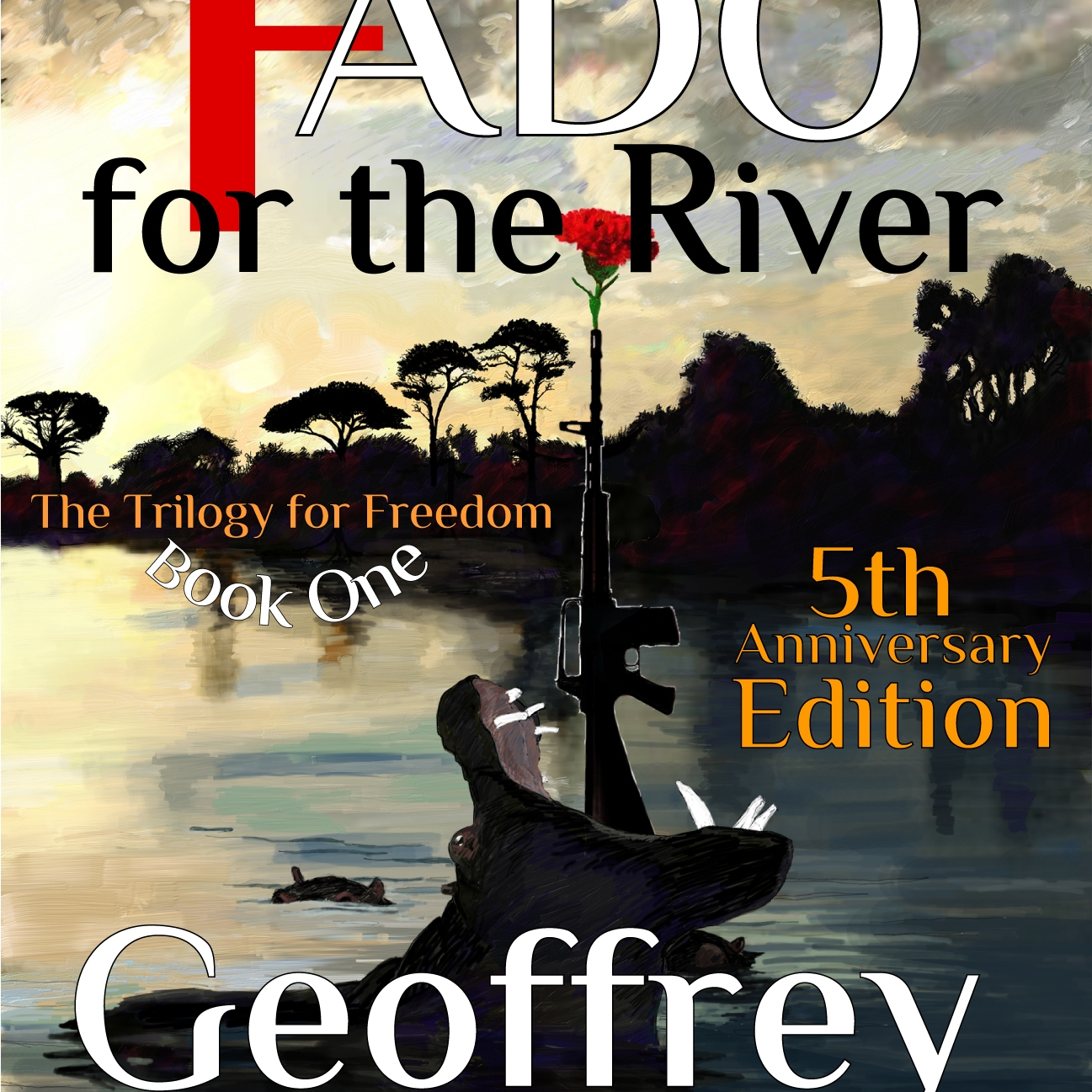 A FADO FOR THE RIVER COVER ILLUSTRATION - A HIPPO WITH A GUN WITH A CARNATION IN IT COMING OUT OF IT'S MOUTH IN THE LIMPOPO RIVER IN MOZAMBIQUE